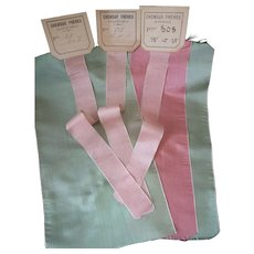 Delicious antique French pink  & green silk ribbons : old stock samples : doll projects