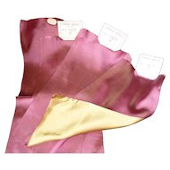 4 beautiful antique French plum & green gold shot silk ribbons : old stock samples : projects