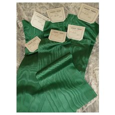 6 antique French Jade green silk moire ribbons : old stock samples : doll projects