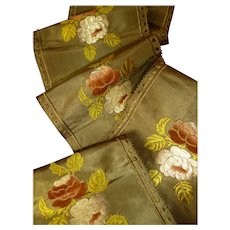 Exquisite 19th C. French olive green taffeta ribbon with velvet , silk & metallic thread roses (  5 yards )