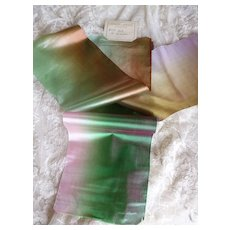 3 iridescent French soft ombre shot silk ribbons : old stock samples : St Etienne