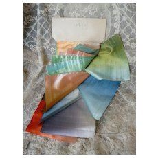Interesting antique French swatch full of sumptuous colorful ombre silk ribbons  : 16 old stock samples