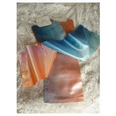 3 superb antique French blue : pink : peach: orange tones soft ombre silk ribbons : old stock samples