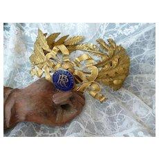 Beautiful old French laurel & oak leaf award crown : enamel medallion ; ribbon bow : acorns