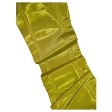 Vibrant lime green old French wide moire silk ribbon : superb quality : unused : doll projects