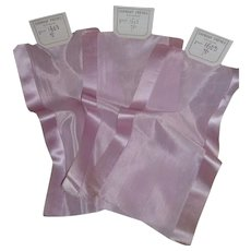 3 delicious antique French pale lilac translucent wide silk ribbons : old stock samples : projects