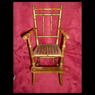 Elegant 19th C. French doll's gilded faux bamboo wooden caned chair : faded grandeur patina : only 13 5/8th inches high