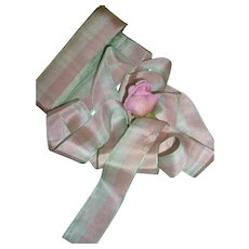 Pretty vintage French pink , green & ivory pastel colored ribbon : unused still on packaging card ( 2 yard length )