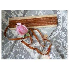 Unusual  burnt tangerine -chocolate & silver metallic thread grosgrain type narrow ribbon : doll projects ( 6 yards )