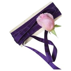 Pretty French old narrow purple ribbon with herring bone motifs : 5 yards : doll projects
