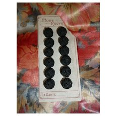 12 Pretty small black French buttons : unused still on original card  : Mode Rouvelle : doll projects