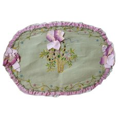 Adorable old French ribbon work cushion front or doily : silk work floral basket :  faux jewels