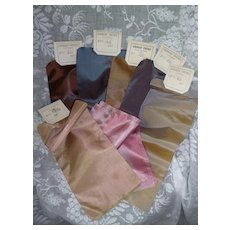 9 beautiful French iridescent silk ribbons : old stock samples : doll projects
