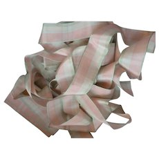 Pretty vintage French unused pink  pale green check rayon ribbon: 2 YARD LENGTHS : doll projects