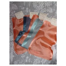 5 beautiful translucent peach and blue silk ribbons : old stock samples :  St Etienne France : projects