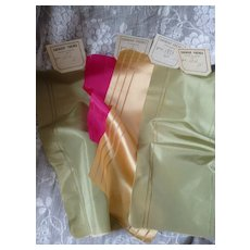 4 pretty French silk ribbons : old stock samples : projects