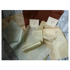 7 shimmering taffeta French ribbons : old stock samples : doll projects