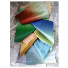 Interesting swatch rainbow colored silk ombre ribbons ( 13 ) : old stock : St Etienne : projects or collection