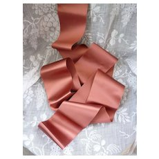 Superb shimmering old French unused satin ribbon : doll projects : 78 inches long