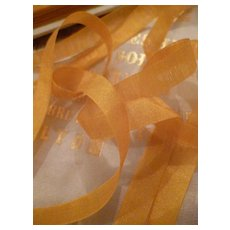 Pretty antique French gold straw colored narrow silk ribbon : 5 yard lengths : doll projects