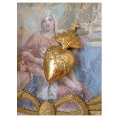 Rare 19th C. French gilt brass bleeding flaming sacred heart : crown of thorns :  cross