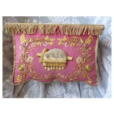 Decorative antique French hand embroidered religious display plinth : lamb : floral & grape motifs : gold passementerie