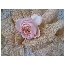 Pretty pink & cream French machine net lace : floral motifs : doll projects : 48 inches long