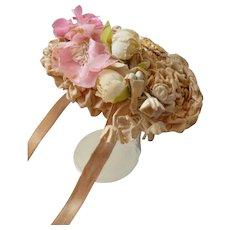 Sweet little dolls bonnet : artficial flowers : ruched fabric
