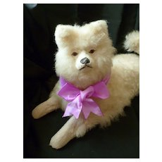 Sweet little vintage French cream real fleece Pomeranian pajama dog