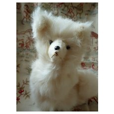 Decorative real fur dog old candy container: sitting position : doll companion
