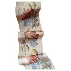 Superb antique French silk ribbon : poppy cornflower & wheat motifs : 37 inches long