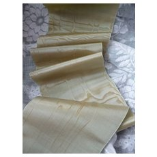 Superb old French pale green : gold shot moire silk ribbon : 59 inches : doll projects