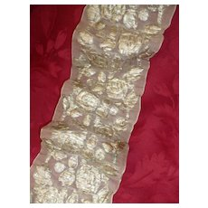 Rare morceau old French sheer ribbon with silver metallic thread padded roses :  36 inches : collection
