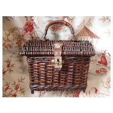 Adorable little French doll's wicker basket : bag : circa 1900
