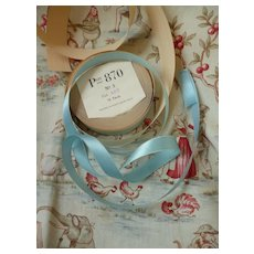 Pretty pale blue colored narrow old rayon Swiss ribbon : unused : 18 yards : doll projects