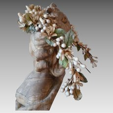 Beautiful 19th C. French bride's elaborate wax wedding crown : head piece