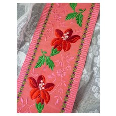 Morceau beautiful old French ribbon : St Etienne : 42 inches long : doll projects