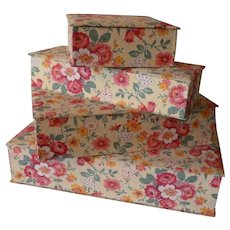 Set of 4 vintage French boudoir fabric covered boxes : floral motifs : excellent condition