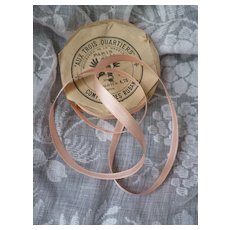 Delicious old French shrimp colored narrow ribbon : unused packaging roll  : doll projects : 157 inches