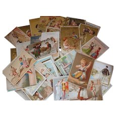 Large batch late 19th C. French decorative shop advertising trade cards  + 100 cards