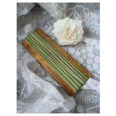 Delicious 19th C French green narrow ombre silk ribbon : unused :  doll projects :  4 yard lengths