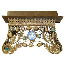 Decorative 19th C. French gilded metal religious bible stand : faux jewels : flowers : IHS medallion