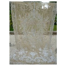 Spectacular 19th C. French Cornely Chateau net lace curtain : cherubs : in need of TLC : cutting