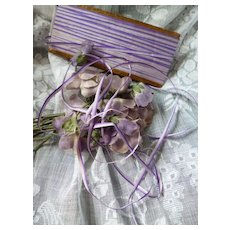 Pretty 19th C. French  narrow mauve / purple colored ombre ribbon : doll projects :  4 YARD LENGTHS
