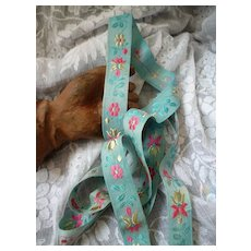 Charming old French light blue , pink ribbon : floral & foliage motifs : St Etienne : doll projects :  53 inches