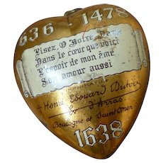 Decorative vintage French ex voto sacred heart  : congrés marial Boulogne- s- mer dated 1938