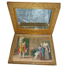 Luxurious 19th C. French confectioners bonbon box : casket : engravings : mirror : 2 layers
