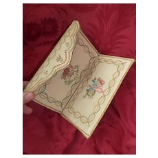 Exquisite 18th C. French embroidered silk ladies pocketbook : wallet : nesting birds, floral , amour motifs : Georgian era