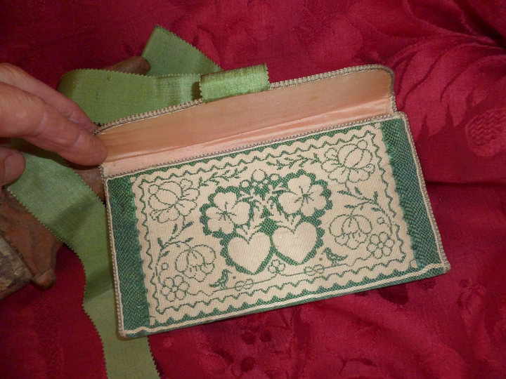 296a3389 Exquisite antique French ladies green pocketbook : wallet : 2 hearts :  birds : floral motifs