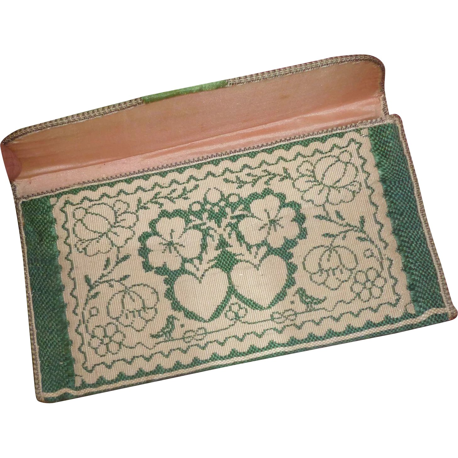 b1534f40 Exquisite antique French ladies green pocketbook : wallet : 2 hearts :  French faded-grandeur | Ruby Lane